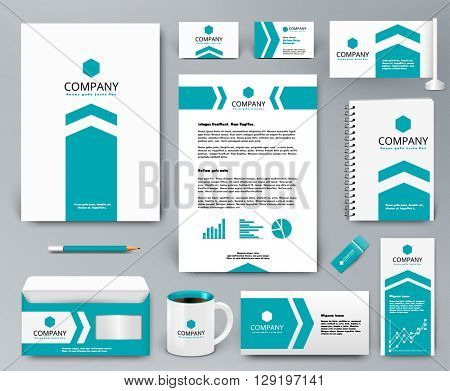Professional universal branding design kit with blue arrow on white for real estate/investment. Corporate identity template. Business stationery mockup. Editable vector illustration: folder, mug, etc.