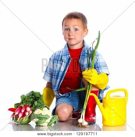 Cute preschool boy gardener. Isolated on the white background