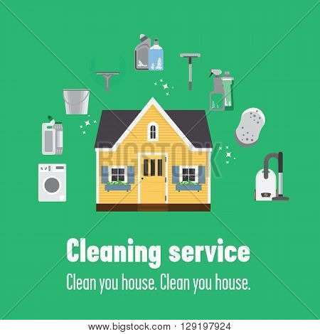 Wooden house and some instruments to clean it: mop vacuum cleaner washing machine cleanser bucket.