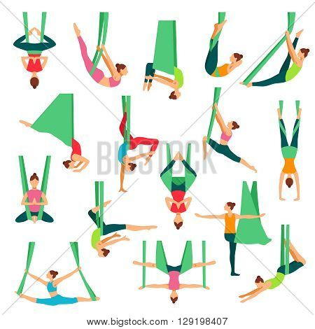 Aero yoga isolated decorative icons set with young girls doing anti gravity yoga exercises in special hammocks flat vector illustration