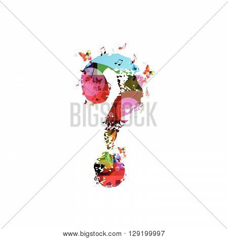 Vector illustration of colorful question mark with butterflies