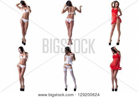 Collection of seductive model advertises sexy underwear
