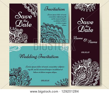 Set of wedding invitations. Wedding cards template with individual concept. Design for invitation, thank you card and  save the date card.