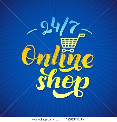 Online Shop Logo. Shop print on a T-shirt, Shop label,  Shop Stamp,  Blue Shop lettering, Calligraphy Shop, Shop Icon, Shop Vector illustration