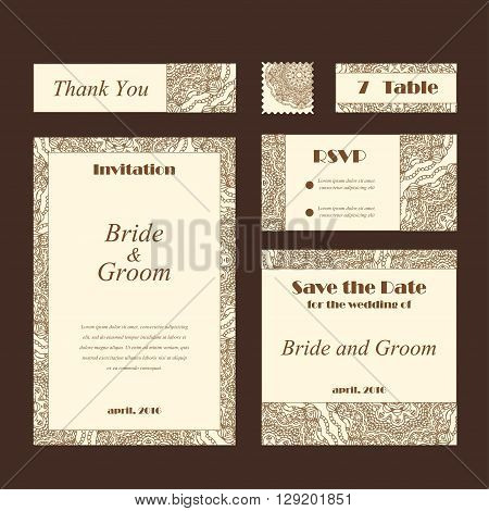 Wedding card collection. Template of invitation card. Decorative greeting design for thank you card, save the date card and others.