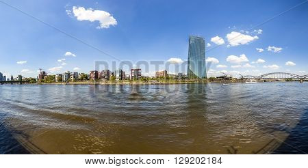 Skyline With River Main And New Headquarters Of The European Central Bank
