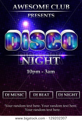 Vibrant 80s styled disco night party event poster, flyer, banner, brochure template. Luminous font, neon lights and dramatic background.