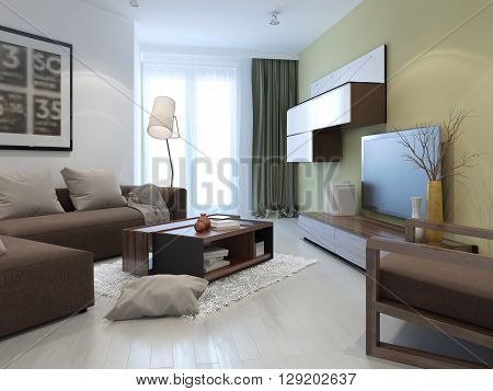 Interior of bright fusion lounge. Tan and white colored walls brown furniture and dark olive cushions. 3D render poster