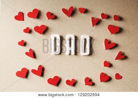 Felt Dad Text With Small Red Hearts
