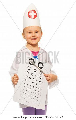 Young smiling girl playing oculist, holding pointer and examination card, isolated on white background