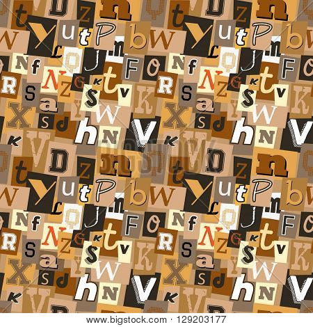 Pastel coffee coloured kidnapper ransom note seamless pattern. Fun background with letters for decoration, background and print.