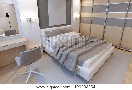 Master bedroom in light colors. Art Deco style in the interior of the bedroom for the refined natures. 3D render