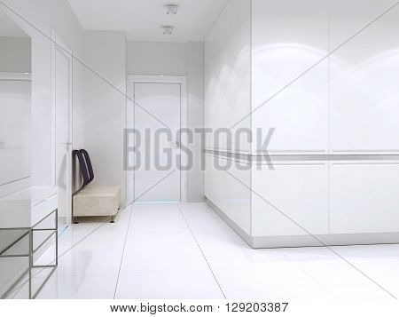 Contemporary designed corridor in big expensive house. 3D render