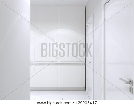 Design of contemporary hallway white color. 3D render