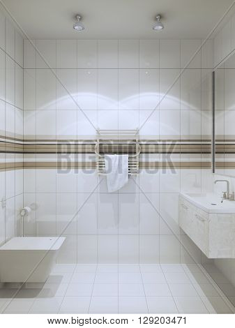 Contemporary WC with vertical tiling. White colored tile wc with horizontal stripes of tint of brown color. 3D render