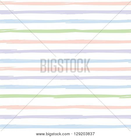 Seamless striped pattern. Handdrawn design with ink brush stroke. Pink, blue, green and violet stripes on white background.  For prints, wallpaper, baby shower invitation, birthday card, scrapbooking