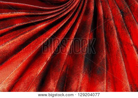 close up of the red pleated fabric texture