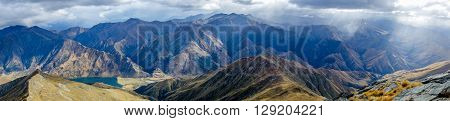 Southern Alps panorama from Ben Lomond Track Queenstown New Zealand