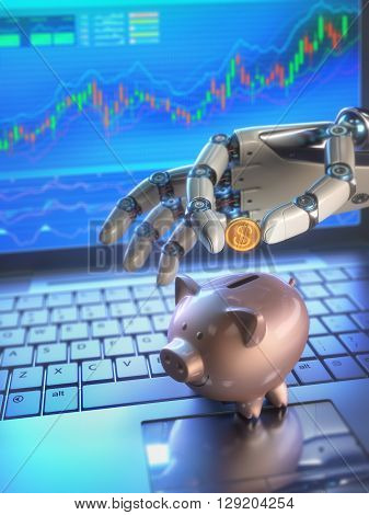 Image concept of software (Robot Trading System) used in the stock market that automatically submits trades to an exchange without any human interventions. The robot hand is depositing coin into piggy bank.