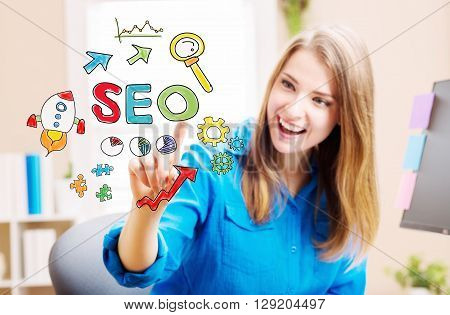 Seo Concept With Young Woman