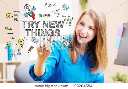 Try New Things Concept With Young Woman