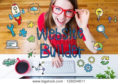 Website Builder Concept With Young Woman
