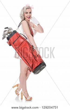 Cute Retro Girl Carrying Red Golf Bag Over Her Shoulder, Isolated On White With Space For Text