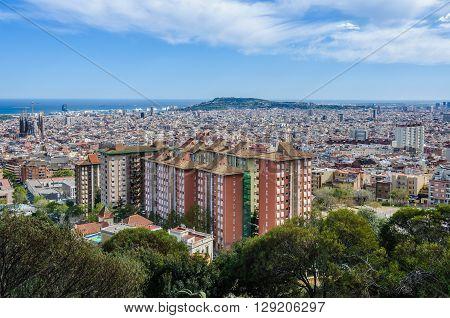 The City Center From Turo Del Rovira In Barcelona, Spain