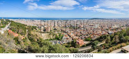 Panoramic View From Turo Del Rovira In Barcelona, Spain