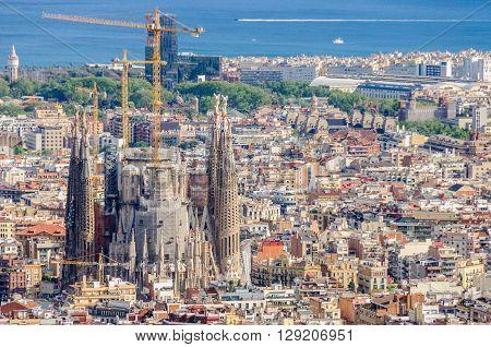 Sagrada Familia From Turo Del Rovira In Barcelona, Spain