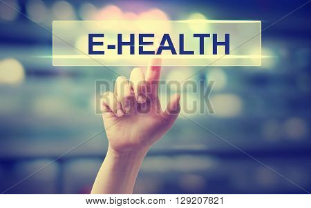 E-health Concept With Hand Pressing A Button