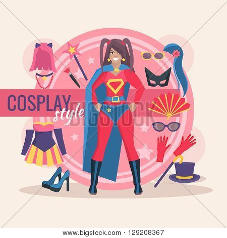 Superhero cosplay character pack for girl with clothing and magic accessory vector illustration