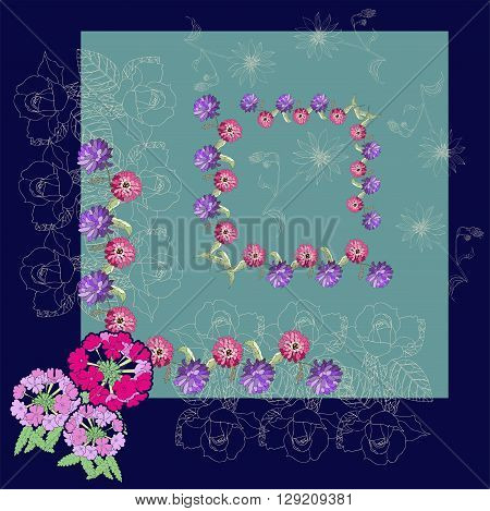 Beautiful card with hand drawn flowers. Silk neck scarf or kerchief square pattern design style for print on fabric. Vector illustration.