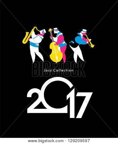 vector calendar 2017 on a season of jazz music jazz band festival
