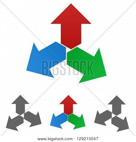 Arrow logo vector. Arrow icon symbol design template set for decision, option concepts.