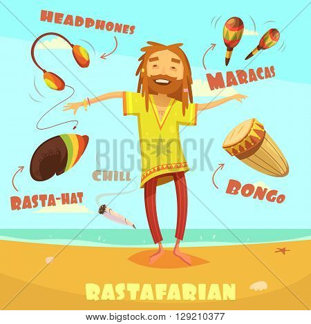 Rastafarian cartoon character set with maracas headphones and bongo vector illustration