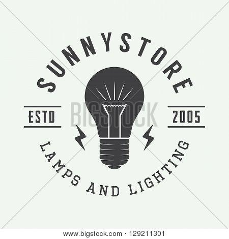 Vintage lamp and lighting logo emblem badge and design element. Vector illustration