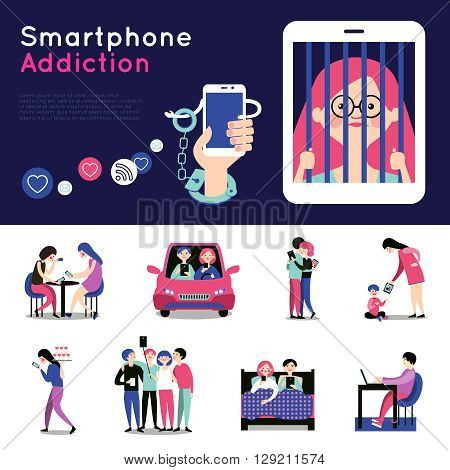 Smartphone addiction 2 flat banners with icons of checking mail and chatting in bed abstract vector illustration