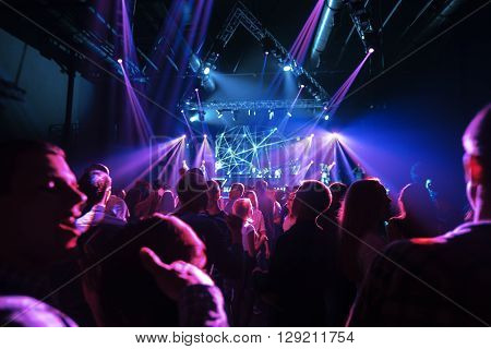 SMOLENSK - APR 2: Night club party crowd at the concert of Max Korg on April 2, 2016 in Smolensk, Russia.