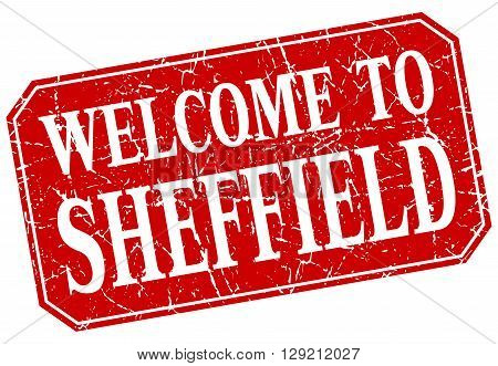 welcome to Sheffield red square grunge stamp