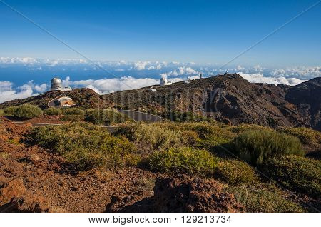 View on large daytime telescope in Canary islands