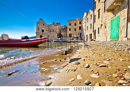 Town of Komiiza beach and old architecture island of Vis Croatia