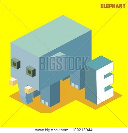 E for elephant, Animal Alphabet collection. vector illustration
