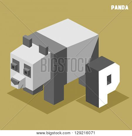 P for Panda. Animal Alphabet collection. vector illustration