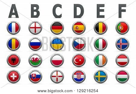 All groups with flags of countries on Euro 2016 - France football championship isolated on white three-dimensional rendering 3D illustration