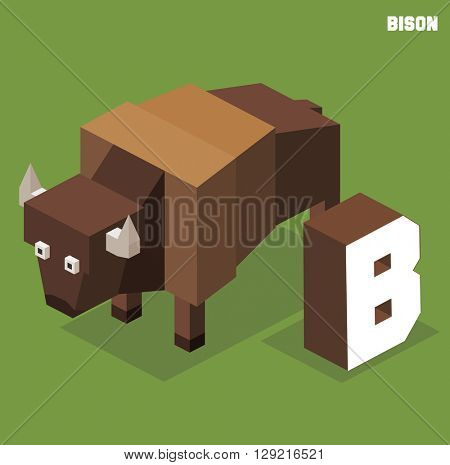 B for Bison, Animal Alphabet collection. vector illustration