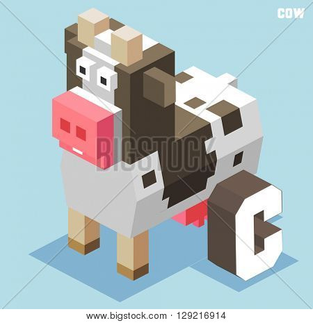 C for cow. Animal Alphabet collection. vector illustration