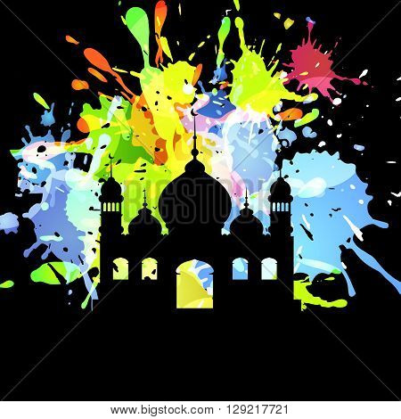 Silhouette of mosque on Abstract inkblot colorfull background on black with spluches