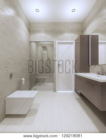 Light contemporary bathroom interior with glass door shower in luxury apartments. 3D render
