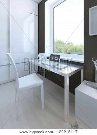 White colored furniture in hgh-tech bedroom. 3D render